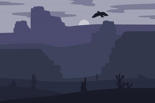 砂漠でレトロな野生の西ギャロッピングの馬