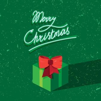 ギフトと挨拶状のメリークリスマステキストの手書きの手紙。