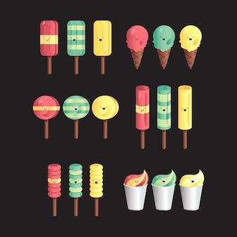 異なるとグラデーションアイスクリームのベクトルを設定