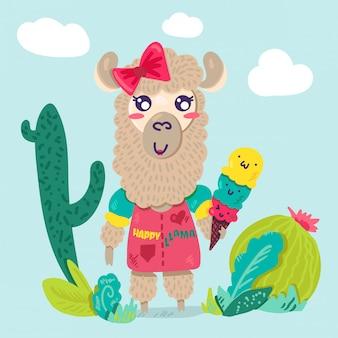 Милый лама девушка плоский мультипликационный персонаж