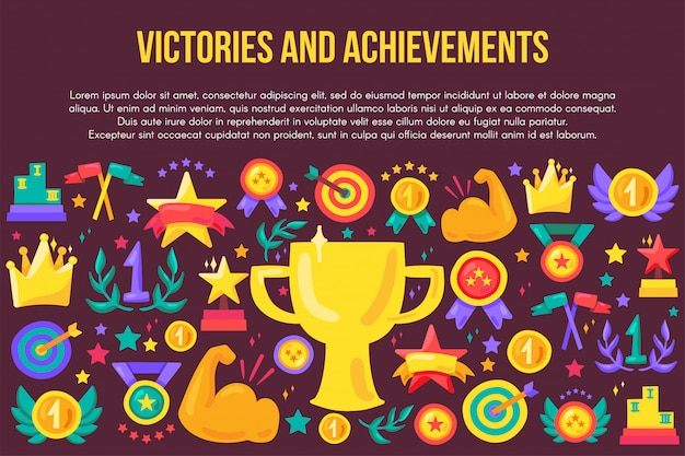 勝利と実績フラットバナーのテンプレート