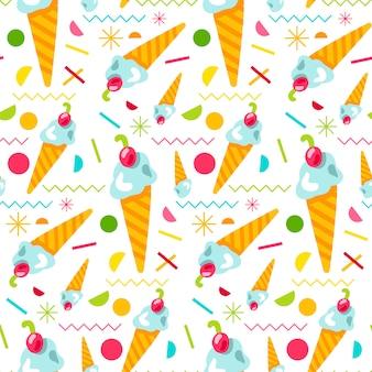 ベクトル甘いおいしいアイスクリームのシームレスパターン