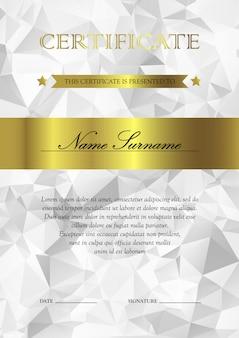 Вертикальный серебряный и золотой сертификат и шаблон диплома