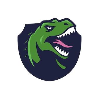 恐竜のマスコットのロゴ