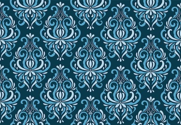 装飾的なダマスカスブルーパターン
