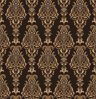 クラシックゴールドビクトリア朝様式のシームレスパターン