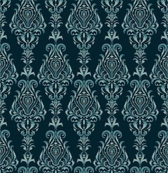 シルバーブルービクトリア朝様式のシームレスパターン