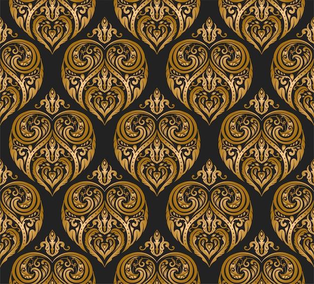 クラシックゴールド装飾花柄シームレス