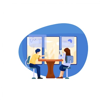 男性と女性のイラストがオフィスで一緒に議論します。