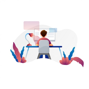 コンピューター、プログラマ、ビジネスアナリスト、デザイナー、マネージャーのベクトルフラットイラストで働く男