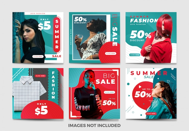 夏のソーシャルメディアバナーテンプレートコレクションのユニークな色