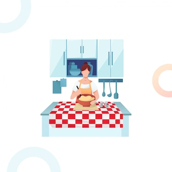 Женщина размешивает тесто