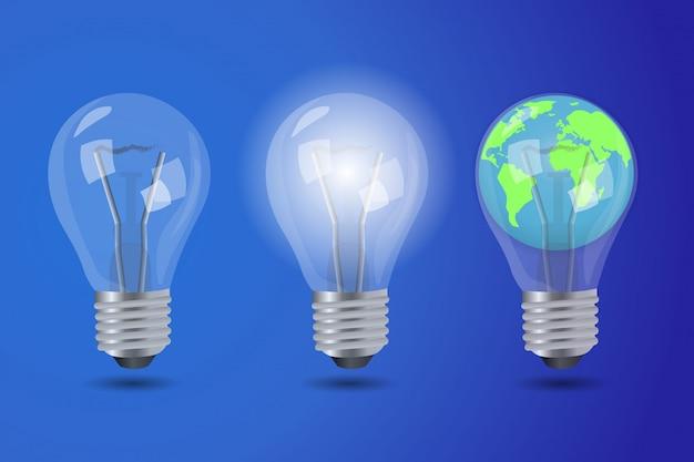 Реалистичная яркая лампочка, выключенная лампа и лампочка с планетой земля