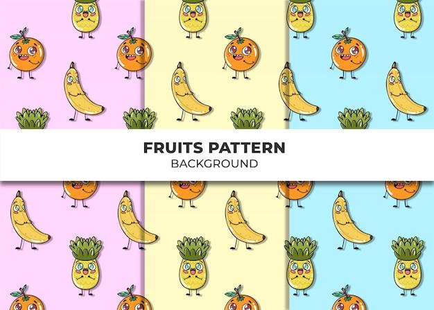 かわいい果物パターンベクトル