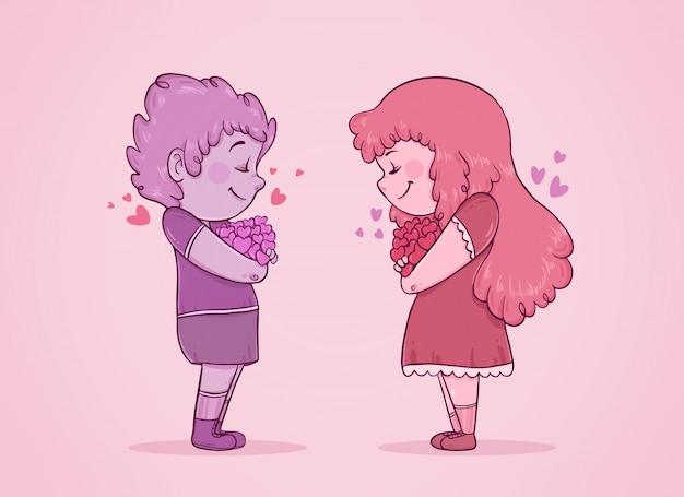 Влюбленная пара с закрытыми глазами и сердцами на руках