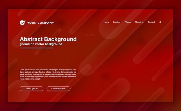ランディングページデザインのトレンディな赤の背景。