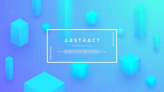 抽象的な青いキューブの組み合わせでモダンな背景。