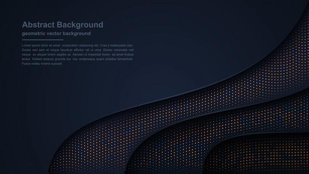 光沢のあるドットの組み合わせで織り目加工と波状の豪華な暗い背景。