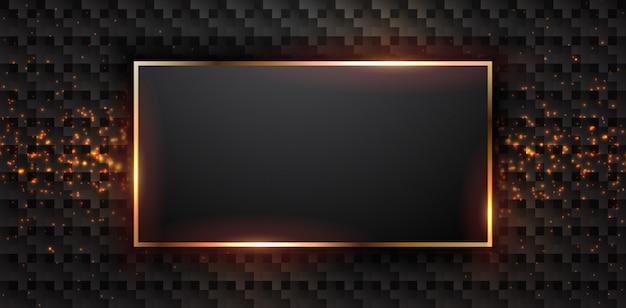 Роскошный черный фон с рамкой прямоугольника.