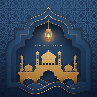Рамадан карим со светящимся подвесным фонарем и мечетью.