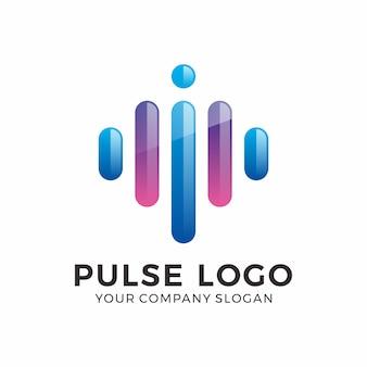 抽象的なパルスロゴデザイン