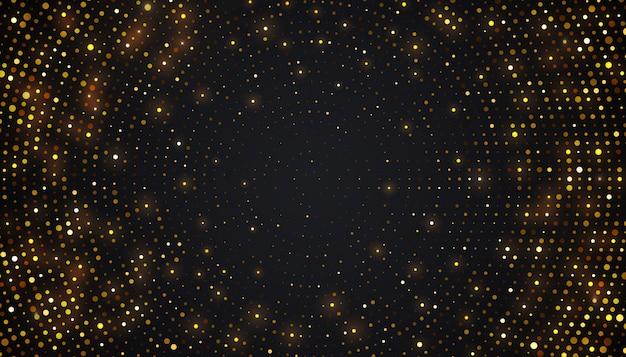 Абстрактный черный фон с комбинацией светящихся золотых точек