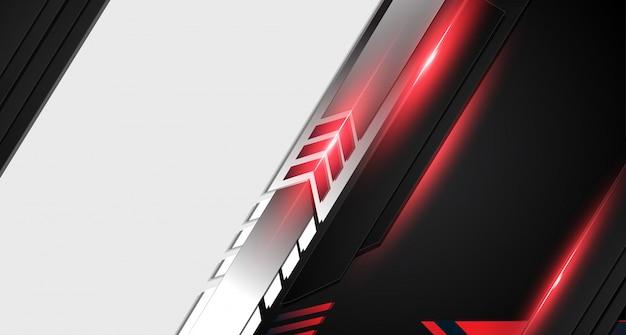 抽象的な金属赤黒フレームレイアウトモダンなハイテクデザインテンプレートの背景。