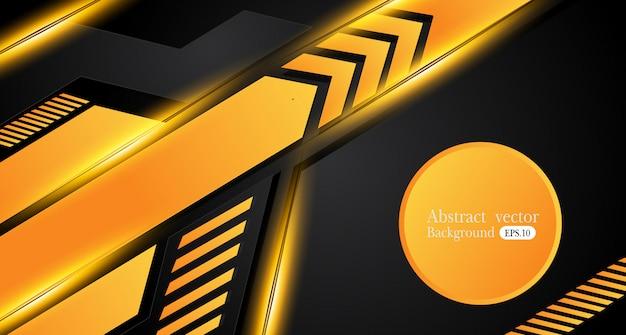 オレンジ色の黄色と黒の抽象的なビジネスの背景。ベクトルのデザイン。