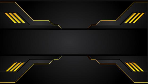 抽象的なメタリックイエローオレンジブラックフレームデザインイノベーションコンセプトレイアウトの背景。