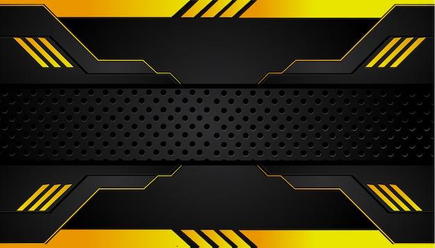 抽象的なメタリックイエローオレンジブラックフレームデザイン