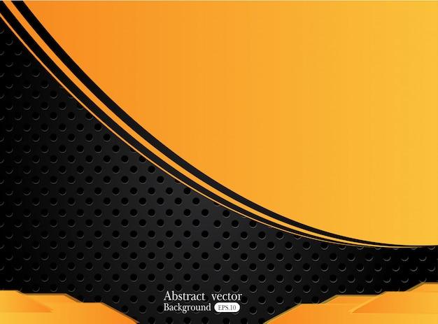 オレンジ色の黄色と黒の抽象的なビジネス背景。ベクトルデザイン。