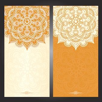 イスラムオレンジウェディングカードの背景