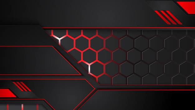 Абстрактный металлический красный черный фон с контрастными полосами. абстрактная векторная графика технологии инновационная концепция