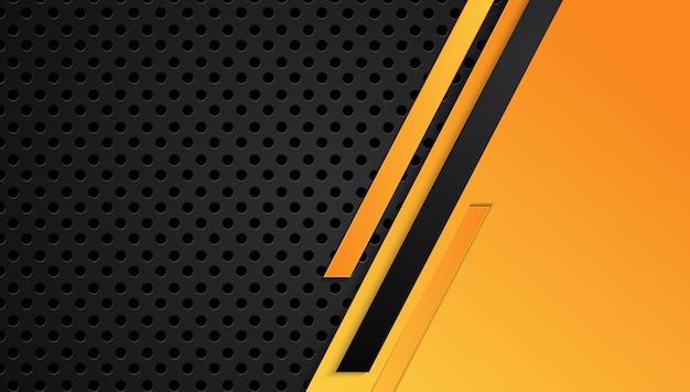オレンジイエローとブラックの抽象的なメタリックフレーム