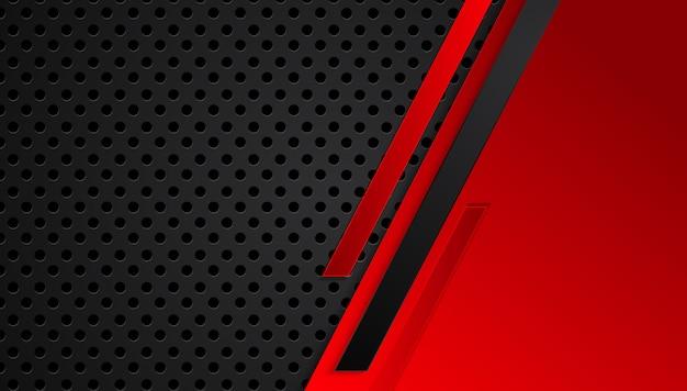 Красный черный абстрактный металлический каркас макет дизайна технологий инновационной концепции фон