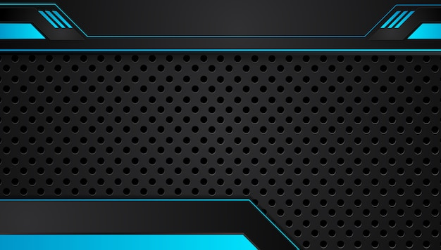 青と黒の抽象的なメタリックフレームレイアウトデザイン技術革新コンセプトの背景