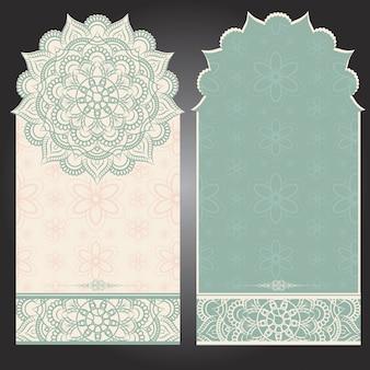 マンダラデザインの垂直背景カード