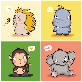 Набор милых животных