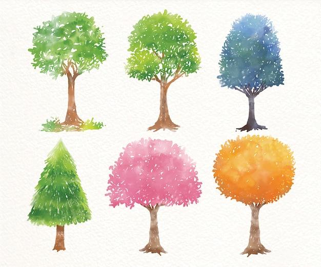 Набор акварельных деревьев. картина. акварель