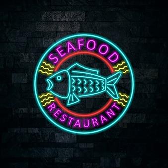 Дизайн неоновых значков морепродуктов