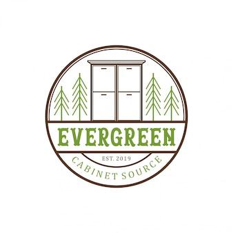 常緑キャビネットヴィンテージロゴデザイン