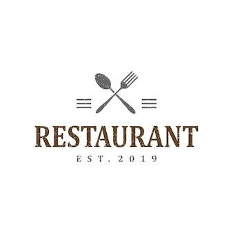 Старинный логотип шаблон дизайна для ресторана