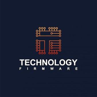 技術とインターネットの回路ロゴ