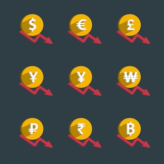 Набор монет и график финансов