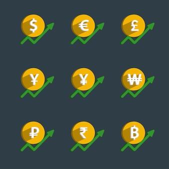 Набор монет и финансового графика, рост валюты.
