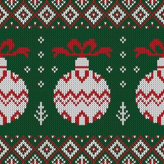 クリスマスのニットパターン。