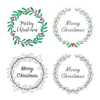 花の装飾が施されたクリスマスの花輪。