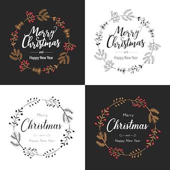 花の装飾とクリスマスの花輪