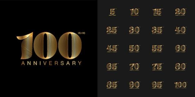 Золотая и серебряная эмблема празднования годовщины установлена.