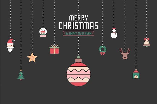 はがき、招待状、ポスターなどのクリスマス装飾アイコン。クリスマスの要素モダンなデザイン。